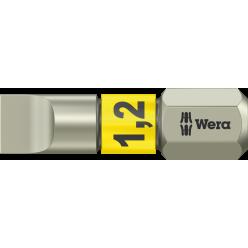 Біта WERA 3800/1 TS для гвинтів з шліцом, нержавіюча сталь, 05071002001, 1.2×6.5×25