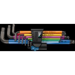 Набір Г-подібних ключів WERA, 950/9 Hex-Plus Multicolour HF 1, метричних, BlackLaser, з фіксуючою функцією, 05022210001