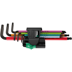 Набір Г-подібних ключів WERA, 950/7 Hex-Plus Multicolour Magnet 1, метричних, BlackLaser, 05022534001