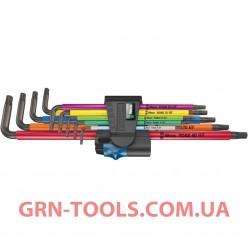 Набір Г-подібних подовжених ключів з функцією фіксації WERA 967/9 TX XL Multicolour HF 1, 05024470001