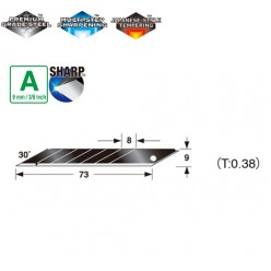 Лезвия сегментные 9мм TAJIMA Acute Angle Razar Black Blades CB39RB угол наклона 30°, 10 шт.