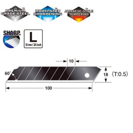 Леза сегментні 18мм TAJIMA Razar Black Blades LCB50RB-50H, 50 шт.