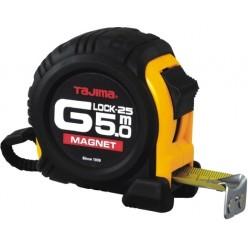 Рулетка строительная ударопрочная с магнитом TAJIMA G-LOCK, GM550MY - 5м×25мм